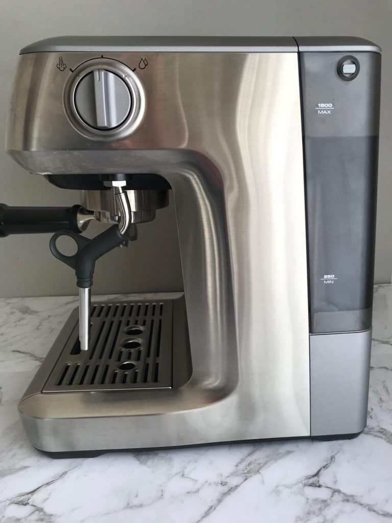 Side view of Breville infuser coffee machine