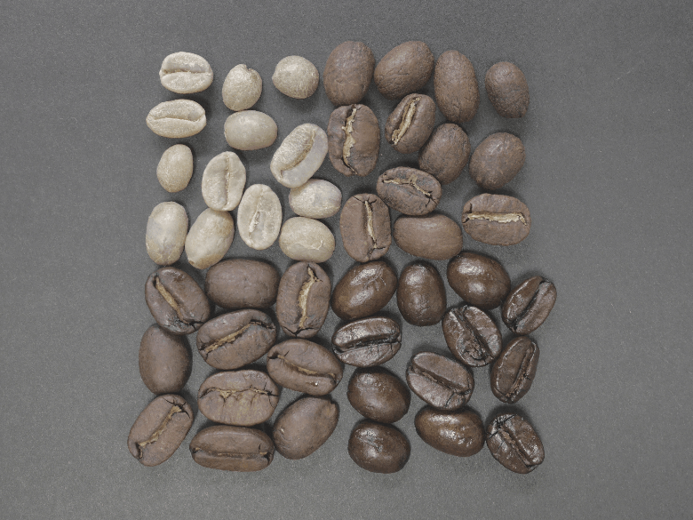 Showing 4 stages a coffee bean goes through when roasted