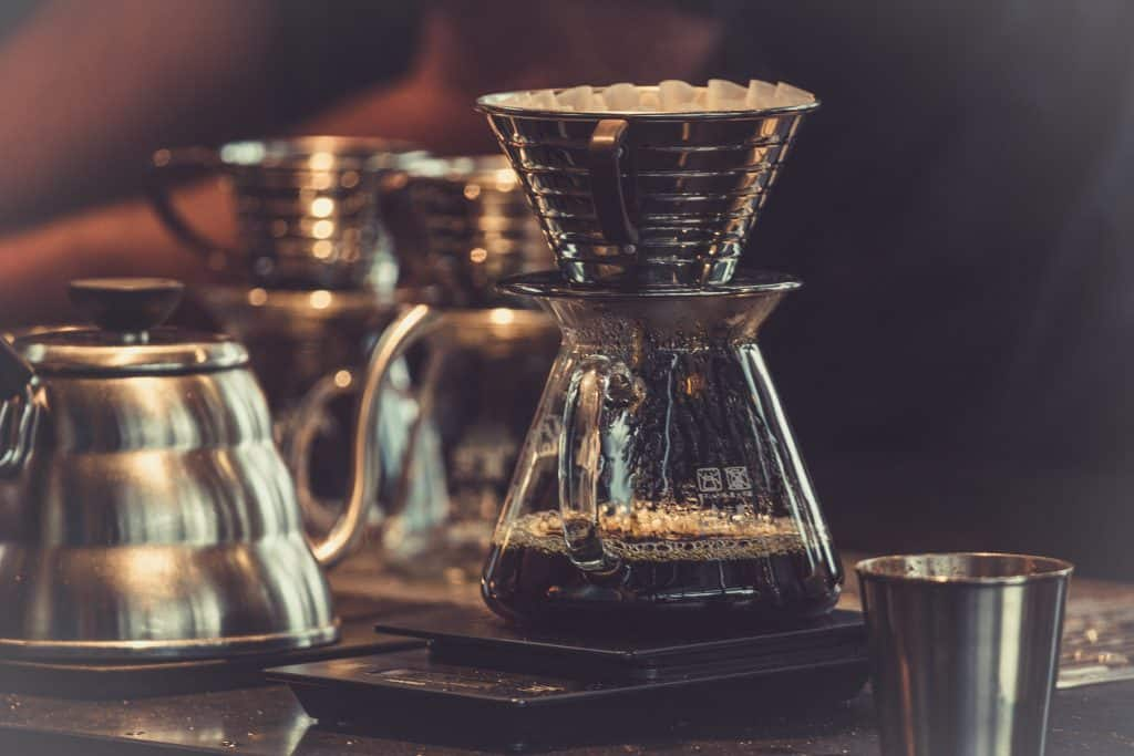 Kalita wave and gooseneck kettle on scales