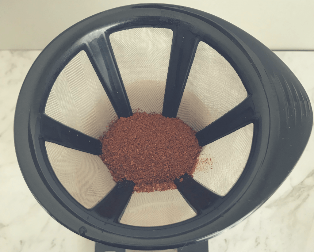 Ground coffee in Bodum Coffee Maker filter