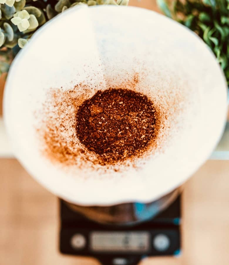 Add ground coffee to chemex filter