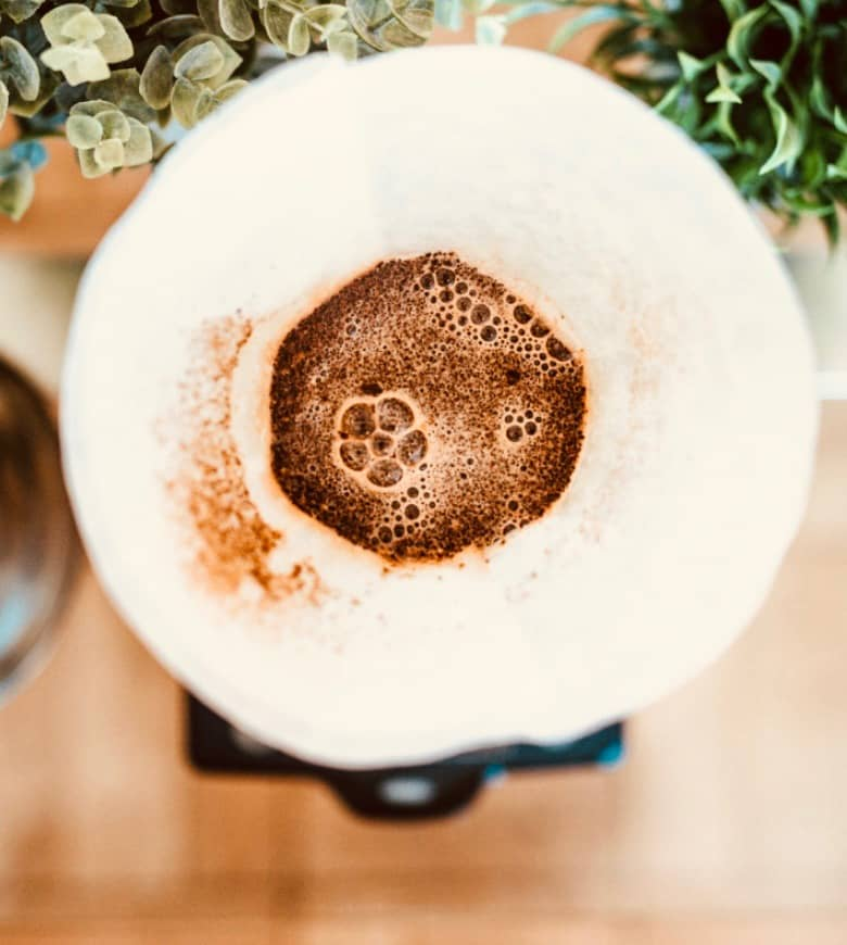 Pouring the bloom in a chemex coffee maker