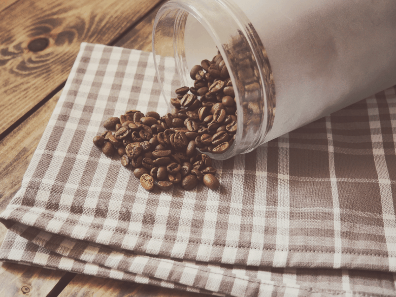 Coffee beans in Coffee storage container