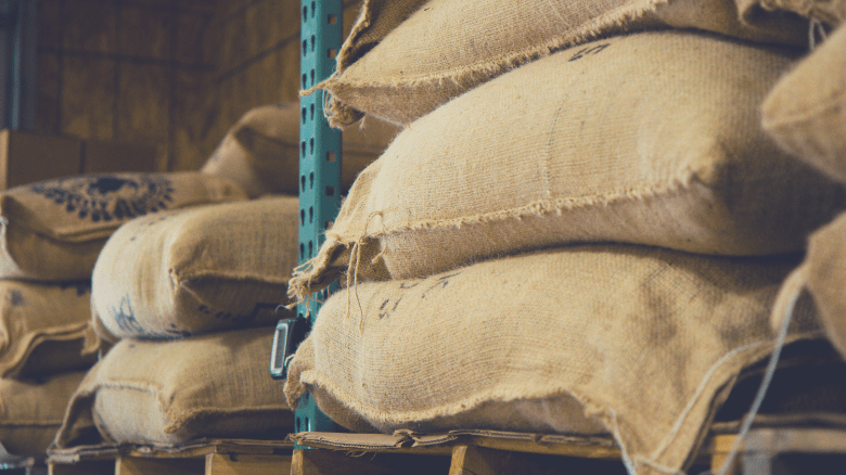 Coffee beans in sacks for exporting