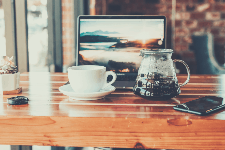 Brewed coffee in a server