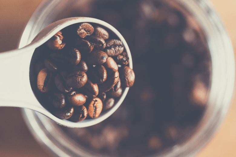 Coffee beans in storage container