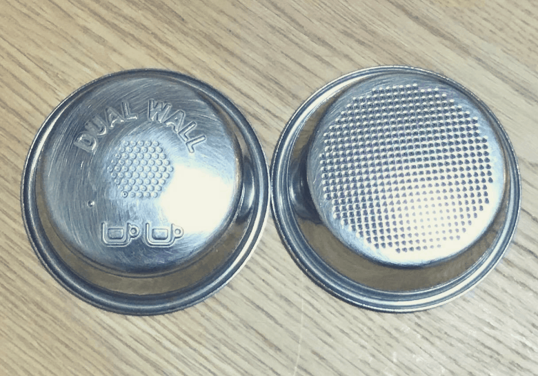 Photo of a double walled vs single walled filter basket