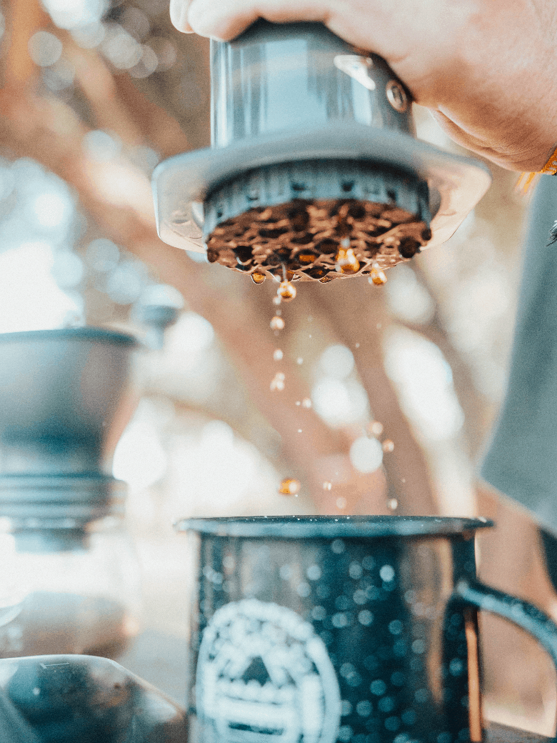 Brewing with Aeropress outdoors