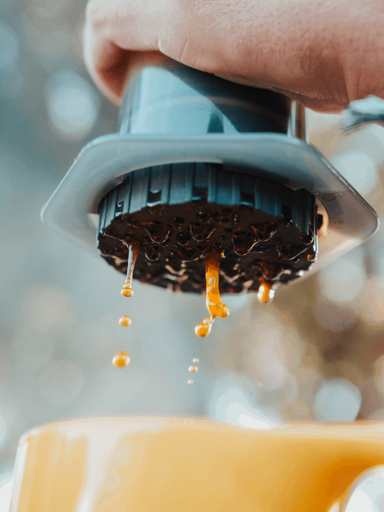 Photo of Aeropress pouring out coffee
