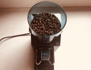 Coffee beans in hopper of Rancilio Rocky Grinder