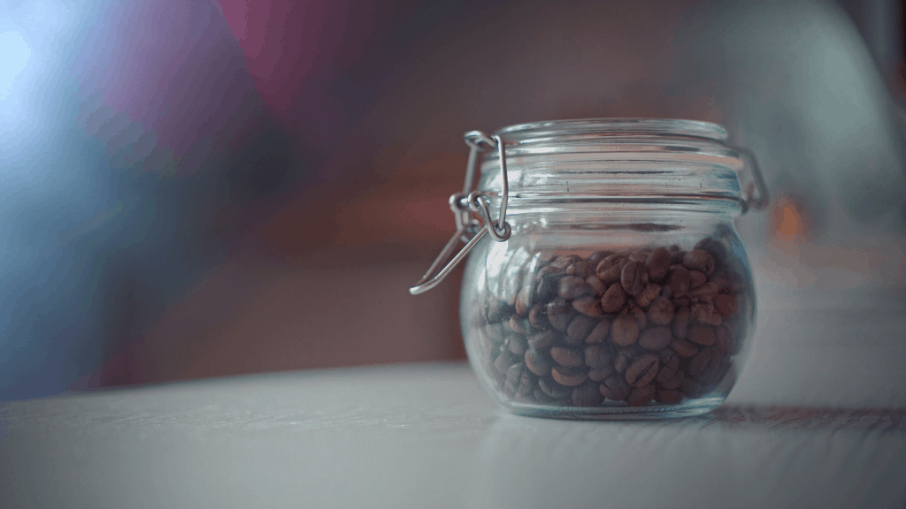 Coffee beans stored in an airtight container