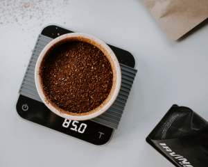 photo of ground coffee on scale