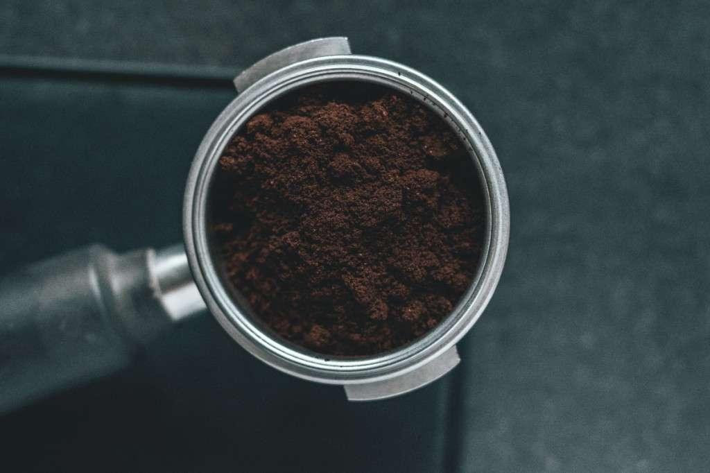 ground coffee in a portafilter