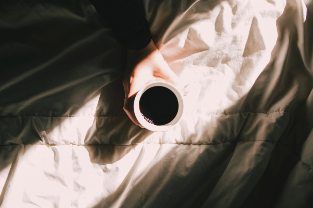 Photo of black coffee in the morning