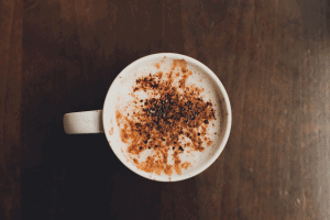 Photo of cappuccino with chocolate sprinkled on top