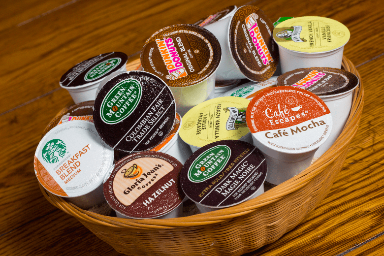 Basket filled with different flavors of K-cups