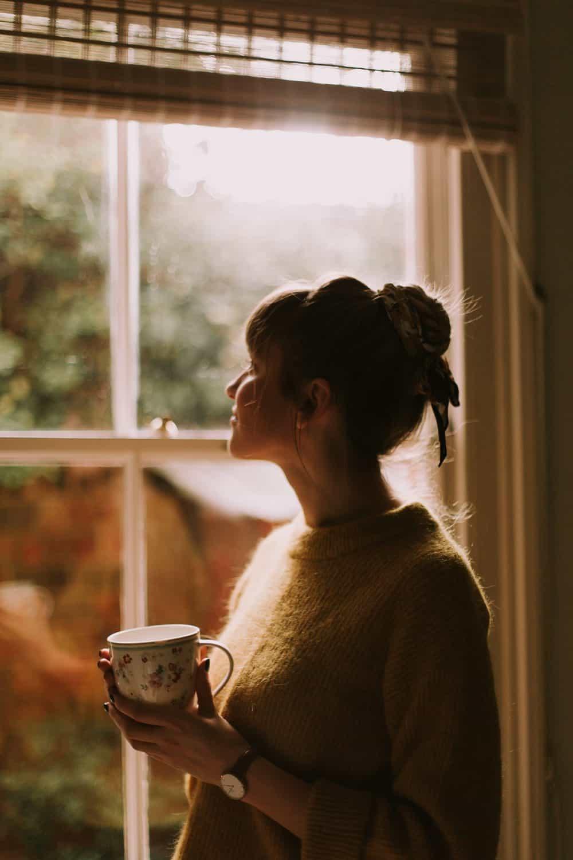 Enjoying coffee at home